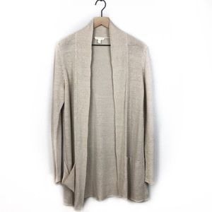 Eileen Fisher 100% Cotton Beige Tan Cardigan